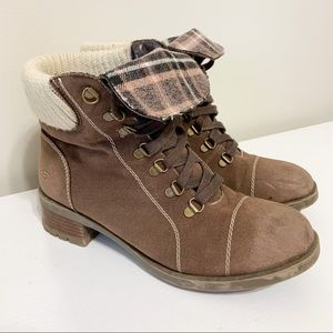SKECHERS Fold Over Brown Plaid Lace Up Boots 10